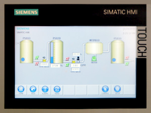 System upgradeable plc touchscreen wastewater system control panel